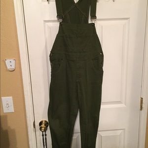 Olive green, skinny jean overalls